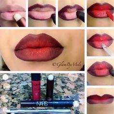 Ombre Lips Tutorial, Lip Tutorial, Lip Makeup Tutorial, Lipstick Tutorial, Eye Makeup Steps, Makeup Tips, Makeup Ideas, Go Feminin, Smoky Eyes
