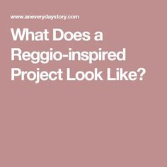 What Does a Reggio-inspired Project Look Like?