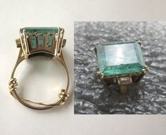 14k HUGE 14.7 carat Genuine Emerald Ring with by Gementia13Jewels