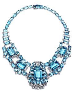 CARTIER  Art Decó Aqua & Diamond  Necklace/Brooch