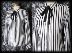 Goth Black White Candy Stripe GOVERNESS Pussy Bow Blouse 8 10 Victorian Vintage High Neck Blouse, Bow Blouse, Victorian Photos, Gothic Clothing, Candy Stripes, Gothic Outfits, Blouse Vintage, Boutique Clothing, Casual Wear