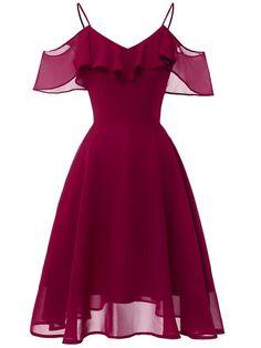 LaceShe Frauen Flowy Strapless Schulter Chiffon Kleid - XL / Burgund Source by rvappen short dresses Pretty Dresses, Sexy Dresses, Vintage Dresses, Beautiful Dresses, Fashion Dresses, Dress Outfits, Casual Dresses, 1950s Dresses, Office Dresses