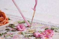 I ❤ ribbon embroidery . . . Twirled Ribbon Rose Step 4 ~By Di Van Niekerk