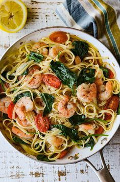 Shrimp Scampi Pasta with Spinach and Cherry Tomatoes is fresh and bright for a summertime meal. Butter, garlic and wine bring a rich flavor to this dish. food pasta recipes white wines Shrimp Scampi Pasta with Spinach and Cherry Tomatoes Easy Pasta Recipes, Seafood Recipes, Cooking Recipes, Shrimp And Spinach Recipes, Shrimp And Scallop Recipes, Angel Hair Pasta Recipes, Linguine Recipes, Zucchini Noodle Recipes, Pasta Meals