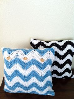 Custom Crochet Pillow, Chevron Crochet Pillow, Crochet cushion cover, white black chevron, white blue chevron. $55.00, via Etsy.