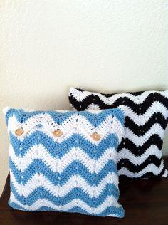 Custom Crochet Pillow, Chevron Crochet Pillow, Crochet cushion cover, white black chevron, white blue chevron. $55.00, via Etsy.