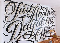 Mateusz Witczak is a self-taught lettering artist and graphic designer currently living in Warsaw, Poland. More lettering inspiration Visit his website Types Of Lettering, Lettering Design, Wall Lettering, Lettering Styles, Office Mural, Office Art, Office Ideas, Typographie Inspiration, Calligraphy For Beginners