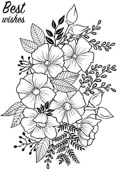 Cute Tattoos, Flower Tattoos, Flower Tattoo Stencils, Hand Embroidery Patterns, Embroidery Designs, Adult Coloring Pages, Coloring Books, Flower Garden Drawing, Flowers Garden