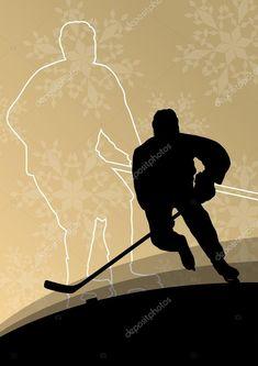 Télécharger - Les joueurs de hockey des hommes jeunes actifs sport silhouettes dans la glace en hiver — Illustration #61242103