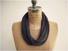 T Shirt Necklace / Chocolate Brown Espresso / Long Short by ohzie