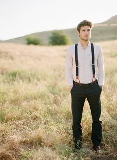 Suspenders and collarless shirt