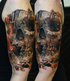 An in-progress skull piece from Domantas Parvainis using Intenze tattoo ink.