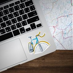 Bicycle Art. Bicycle Sticker. Fixie Bike Sticker. Single Speed Bike Sticker. Bike Art. Tumblr stickers. Cool Stickers. Macbook Decal. by PartyBrew on Etsy
