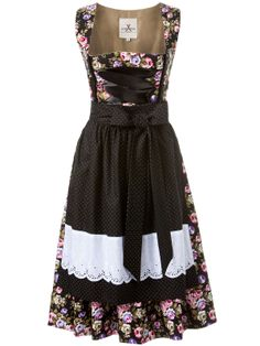 Eine pure schwarze Dirndl Verführung - sexy und elegant mit Blumenmuster von JAN&INA Trachten