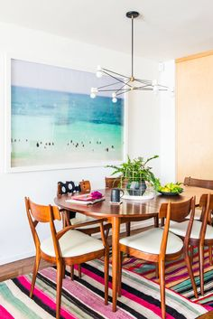 Mid century modern dining room with a relaxed seaside feel.