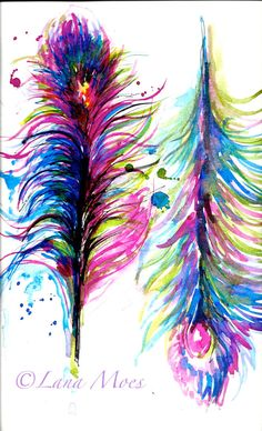 Peacock  Feathers Original Abstract Watercolor Painting - LanasArt - Contemporary Home Decor