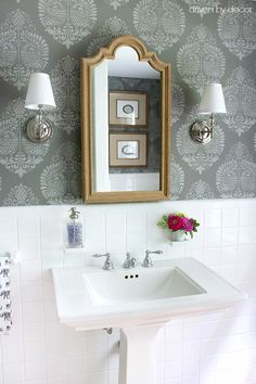 Great look for our small bathroom-Annapakshi Indian Damask Wall stencil from Royal Design Studio - DIY Bathroom Makeover styled by Driven by Decor Bathroom Makeovers On A Budget, Budget Bathroom, Small Bathroom, Bathroom Ideas, Bathroom Pink, Bathroom Wall, Bathroom Towels, Bathroom Renovations, Relaxing Bathroom