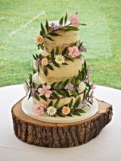 Floral Garland wedding cake by Ellie @ Ellie's Elegant Cakery - http://cakesdecor.com/cakes/281487-floral-garland-wedding-cake