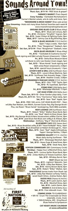 """SUNFLOWER RIVER BLUES FEST WEEK in Clarksdale, Mississippi, offers not only a whole huge festival but also all of THESE """"related"""" blues events in and around town! Don't miss it. www.sunflowerfest.org www.cathead.biz"""