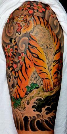 Tiger tattoo by Chris Garver Tattoo Japanese Style, Japanese Tiger Tattoo, Japanese Dragon Tattoos, Traditional Japanese Tattoos, Japanese Tattoo Designs, Japanese Sleeve Tattoos, Tribal Tattoo Designs, Tattoo Drawings, Body Art Tattoos