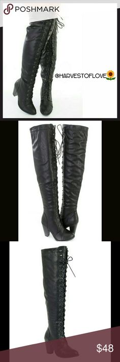 """⚫BLACK HEEL KNEE-HIGH LACE UP BOOTS⚫- 📦NIB📦 ⚫Stunning boots ⚫New in box ⚫Color is Black ⚫Zipper up the outside for easy on and off  ⚫Heel 3 """"  ⚫Shaft is approximately 20 """" from the arch  ⚫Platform 0.5  ⚫You will love these boots😍👍💖👌😄🙌😙❤✌ BOTIQUE  Shoes Over the Knee Boots"""