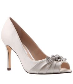 6d6a4963193 Nina Rumina Satin Crystal Brooch Peep-Toe Pumps