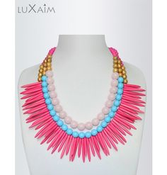 Hot Pink Spikes Statement Necklace