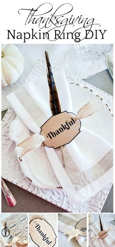 THANKSGIVING 10 MINUTE NAPKIN RING DIY- These easy to make and oh, so pretty napkin rings will enhance your Thanksgiving table!