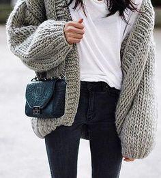 fall style. oversized cardigan.