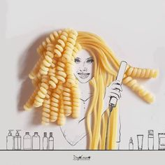"""""""curly or straight today?"""" this is such a creative shot! Creative Shot, Creative Artwork, Creative Sketches, Creative Photography, Pasta Kunst, Pasta Art, Photocollage, Art Plastique, Black Girls"""