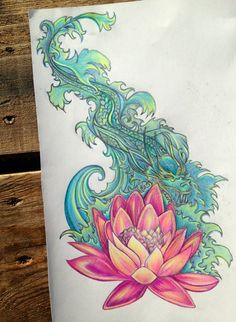 Balinese Water Dragon Illustration Original Drawing by by SisuInk