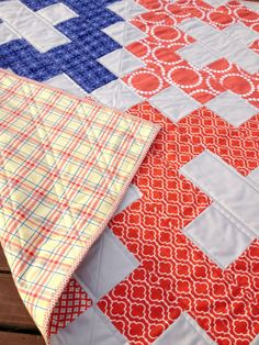 Modern Quilt  Orange and Blue Baby Quilt by HoosierHome on Etsy, $95.00