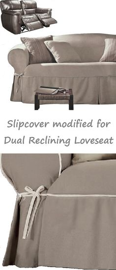 Dual Reclining LOVESEAT Slipcover Contrast Taupe Linen Adapted for Recliner Love seat
