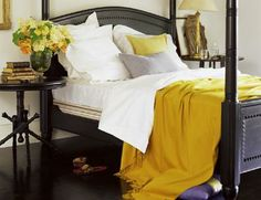 Yellow and grey bedroom!