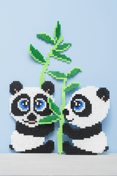 Get your own HAMA bead kit designed exclusively for Panduro by Anja Takacs. It contains 4000 beads, to make two pandas and bamboo. Perler Bead Designs, Hama Beads Design, Diy Perler Beads, Pearler Bead Patterns, Perler Bead Art, Perler Patterns, Hamma Beads 3d, Hamma Beads Ideas, Fuse Beads