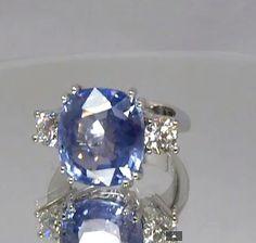 13 20ct Ceylon Sapphire Diamond Unheated Untreated Ring 18KWG Cvdo | eBay