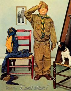 Can't Wait (Boy Scout) 1978 by Norman Rockwell