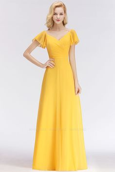 Elegent Short-Sleeve Long Bridesmaid Dress Online Yellow Chiffon Wedding Party Dress - Simple Cheap A-Line Yellow Chiffon Short-Sleeve Floor-length Bridesmaid Dress Yellow Bridesmaid Dresses, Affordable Bridesmaid Dresses, Bridesmaid Dresses Online, Yellow Dress Wedding, Homecoming Dresses, Simple Dresses, Short Dresses, Dresses Dresses, Chiffon Dresses