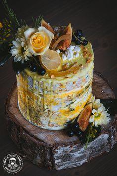 Cake by http://www.frenchmade.co.uk #lemonandthyme #drippingcake #nakedcake #rustic #wedding #woodland #lemon #blueberries #blackcurrant #londonbride #celebrationcake #birthdaycake #occasions #rosemary #yellow #green #yellowandgreencake #seminakedcake