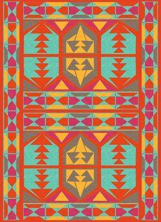 23 x 23 Square Floor Pillow Kess InHouse Nika Martinez Tribal Native Red Pattern