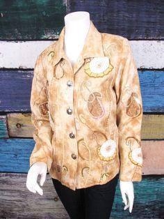 NEW Indigo Moon QVC Camel Beige Floral Paisley Embellished Jacket XS NWT…