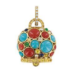 Ciondolo Campanella maxi in oro giallo con corallo rosso, turchese, smeraldi, zaffiri e diamanti