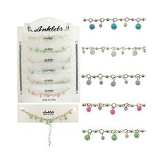Anklets with Acrylic Bead Dangles Case Pack 60