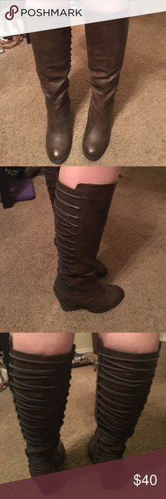 Gorgeous brown boots!!! Beautiful dark brown boots that are the perfect height and heel height. Love to wear these with dresses!!! They also have a beautiful laced up back on them! These boots are super comfy and I️ love them but they are a half size too small. These boots are brand new! Only worn 3 times! Mossimo Supply Co. Shoes Heeled Boots