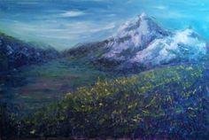 Mountain Painting Field Original Art Oil by TheAtticTheory on Etsy, $400.00