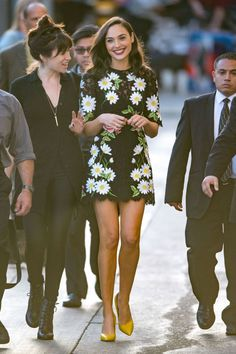 Where: Leaving The Jimmy Kimmel Show Wearing: A floral lace dress with yellow…