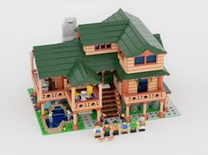 This piece inspired me to create this Log Cabin Home. Yes, a single LEGO piece inspired me to create an entire house that& fully furnished, including but not limited t. Lego Modular, Lego Minecraft, Minecraft Skins, Minecraft Buildings, Lego Lego, Lego Batman, Lego Table Ikea, Lego Memes, Box Container