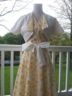 50s Dress Vintage Inspired Handmade Yellow Floral by lorradams, $115.00