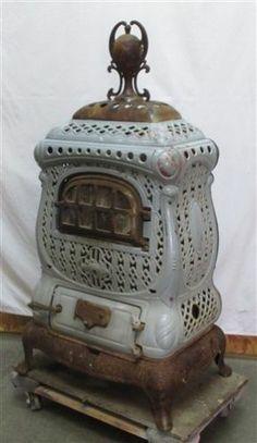 Charter Oak Victorian Parlor Stove Wood Coal Heater Cast Iron Enamel Porcelain!