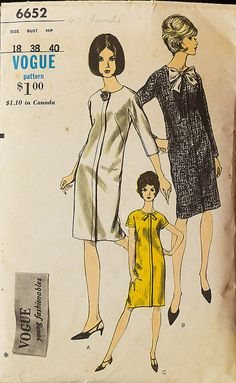 1960s One Piece Dress Sewing Pattern Vintage Vogue by knightcloth